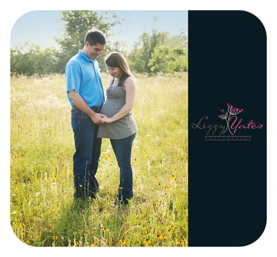 These two expectant parents smile happily in a field in West Little Rock for a maternity photography session