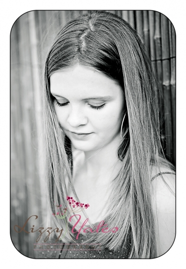 Beautiful black and white portrait of senior girl from central arkansas