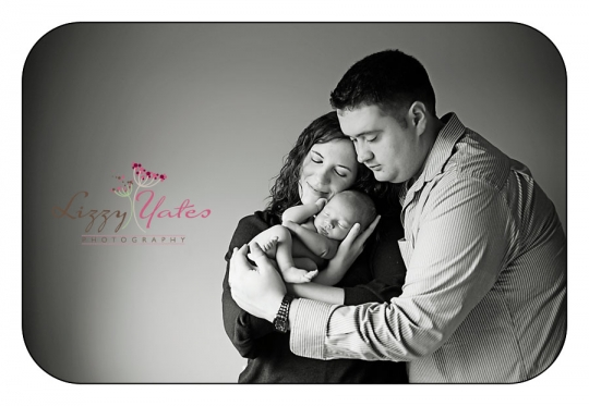 Classic black and white family picture during newborn photo session in central arkansas